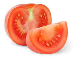 Cross-section of tomato showing seeds