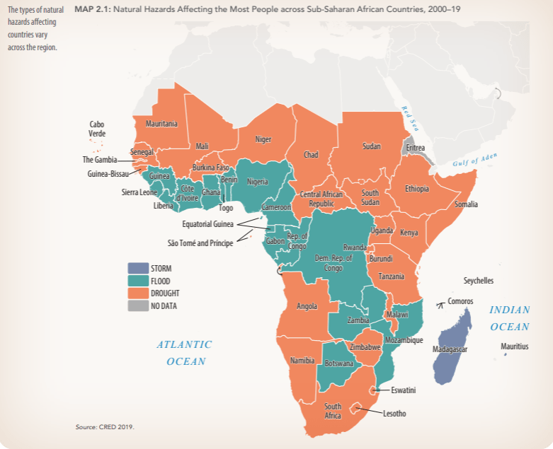 Figure 1. Natural disasters affecting the most people across sub-Saharan African countries, 2000-19 (World Bank)