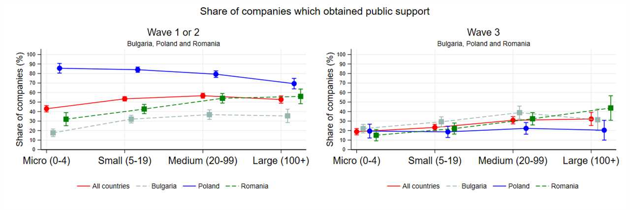 Share of companies that obtained public support